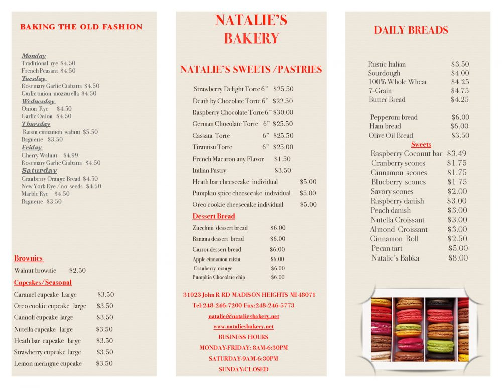 Our menu natalies bakery view natalies bakery menu for current pricing thecheapjerseys Images